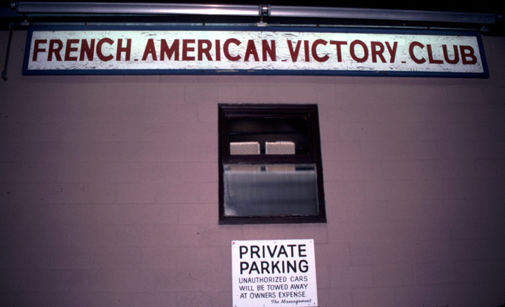 French American Victory Club, where Joseph Cormier often played for Cape Breton dances, 1990, photograph by Alan Govenar