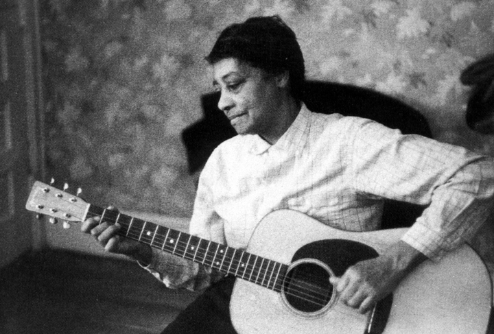 Elizabeth Cotten quit playing the guitar for almost fifty years. In 1943, she moved to Washington, D.C.,  and resumed playing while working for the musical Seeger family. The Seegers encouraged her to perform at festivals and in concerts around the country. Courtesy Smithsonian Folkways Recordings