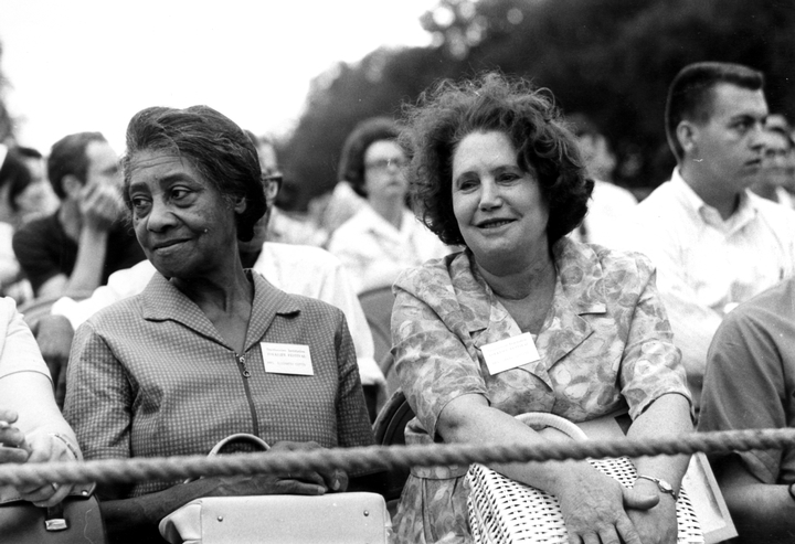 Elizabeth Cotten and singer Sarah Ogan Gunning, 1969 Festival of American Folklife, courtesy Ralph Rinzler Folklife Archives and Collections, Center for Folklife and Cultural Heritage, Smithsonian Institution
