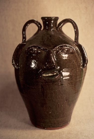 Stoneware face jug with akaline-glaze glass runs by Burlon Craig, courtesy National Endowment for the Arts