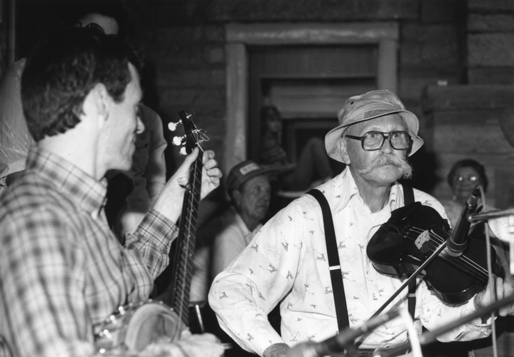 Clyde Davenport (right) with Bob Fulcher at Pickett State Park Old Timer's Day, 1987, photograph by Robert Cogswell, courtesy Tennessee Arts Commission