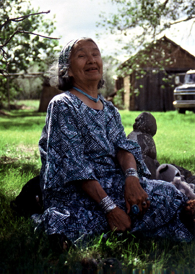 Native American storyteller Mary Louise Defender-Wilson grew up in a family of storytellers. After holding government administrative jobs and struggling with her identity, she returned to live with the Dakotah-Hidatsa people. 1999, photograph by Troyd Geist, courtesy North Dakota Council on the Arts