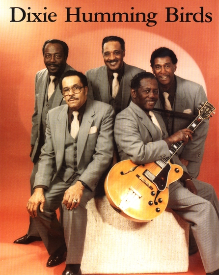 The Dixie Hummingbirds (left to right) Ira Tucker, lead; James Walker, lead; Paul Owens. lead, tenor and baritone; Beachey Thompson, tenor; Howard Carroll, guitarist and baritone, courtesy Jerry Zolten and Ira Tucker