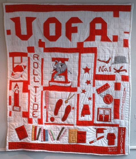 'University of Alabama Quilt,' Nora Ezell's first story quilt, made in the early 1980s, is a tribute to the University of Alabama. She signed the quilt in the lower right corner. Photograph by Joey Brackner, courtesy Alabama State Council on the Arts