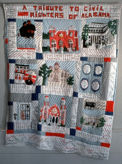 'A Tribute to Civil Righters of Alabama Quilt' by Nora Ezell, started January 23, 1989, and finished June 12, 1989, 414 hours and 30 minutes to piece, 121 hours and 55 minutes to quilt, 14 hours and 30 minutes to hem and finish, $107.54 worth of materials. Photograph by Joey Brackner, courtesy Alabama State Council on the Arts