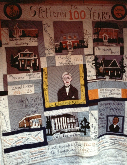 "'Stillman College Quilt' by Nora Ezell, 1986, appliqué, embroidery, buttons and ribbon on cotton, 89 3/4"" x  82 1/4"", collection Robert Cargo Folk Art Gallery. This quilt commemorates the 100th anniversary of Stillman College in Tuscaloosa, Alabama, one of the oldest black colleges in America. Photograph by Joey Brackner, courtesy Alabama State Council on the Arts"