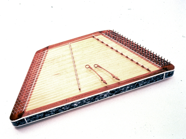 "Hammered dulcimer by Albert Fahlbusch, wood, metal, plastic, 21"" x 45"", 1988, photograph by Michel Monteaux, courtesy Museum of International Folk Art (a unit of the Museum of New Mexico)"