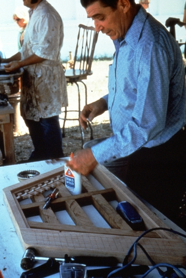 Albert Fahlbusch at work on one of his hammered dulcimers, photograph by Roger Welsch, courtesy National Endowment for the Arts