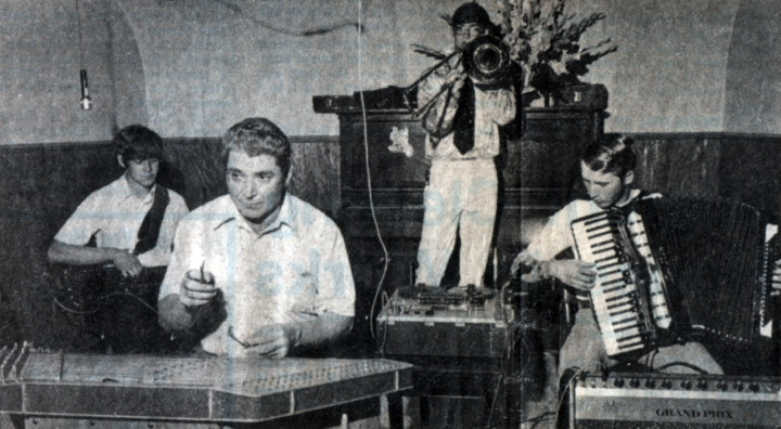 Albert Fahlbusch and the Polka Playboys performing at the wedding pary of Debbie and Lonnie Hauf at Minitare. Nebraska :Andy Gentry on trombone, Roger Fahlbusch on bass guitar, Bob Schmer on accordion, 1984, *Star Herald* photograph by John Crouch, courtesy Mary Fahlbusch