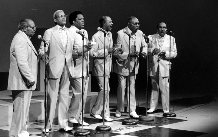 The Fairfield Four performs at the WSMV-TV Studio in Nashville, Tennessee on June 5, 1988. The performers are (left to right) Samuel McCrary, Reverend Willie Richardson, Robert Hamlett, Wilson Waters, Isaac Freeman, James Hill, photograph by Robert Cogswell, courtesy Tennessee Arts Commission