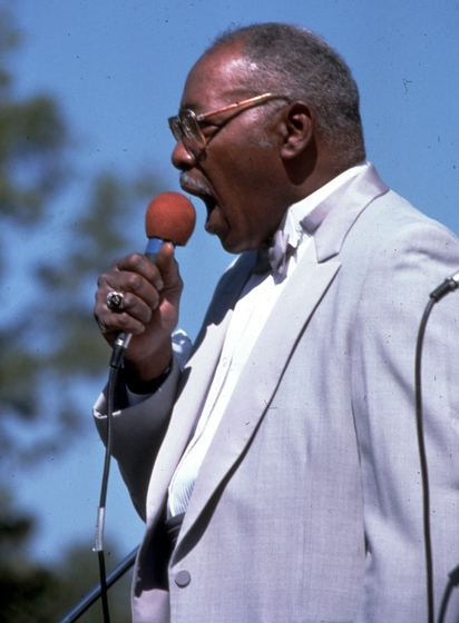 Isaac 'Dickie' Freeman of the Fairfield Four, Tennessee Grassroots Days, Nashville, September 29, 1985, photograph by Robert Cogswell, courtesy Tennessee Arts Commission
