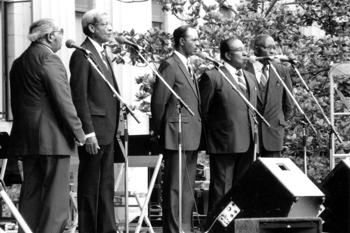 cFairfield Four (left to right): Samuel McCrary, Reverend Willie Richardson, Wilson Waters, James Hill, Isaac Freeman, Summer Lights Festival, Nashville, May 31, 1985, photograph by Robert Cogswell, Courtesy Tennessee Arts Commission