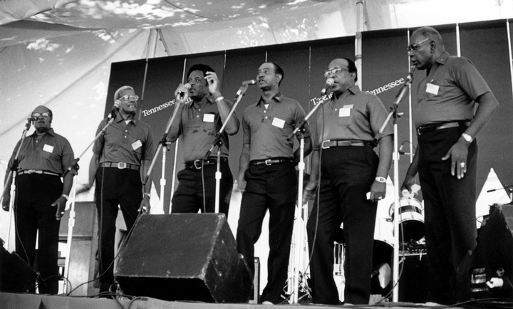 Fairfield Four (left to right): Samuel McCrary, Reverend Willie Richardson, Robert Hamlett, Wilson Waters, James Hill, Isaac Freeman, 1986 Smithsonian Festival of American Folklife, photograph by Robert Cogswell, courtesy Tennessee Arts Commission