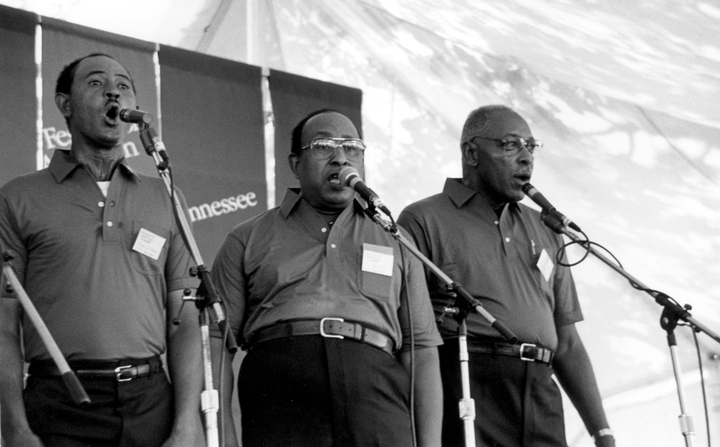 Fairfield Four (left to right) Wilson Waters, James Hill, Isaac Freeman, 1986 Smithsonian Festival of American Folklife, photograph by Robert Cogswell, courtesy Tennessee Arts Commission