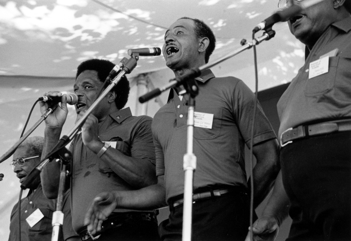 Fairfield Four (left to right) Reverend Willie Richardson, Robert Hamlett, Wilson Waters, James Hill, 1986 Smithsonian Festival of American Folklife, Photograph by Robert Cogswell, Courtesy Tennessee Arts Commission