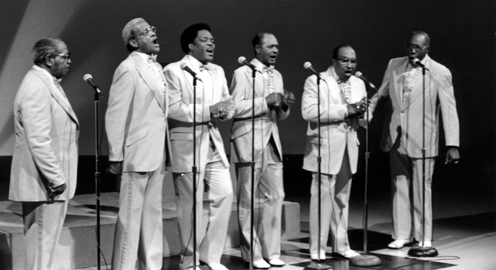 Fairfield Four (left to right) Samuel McCrary, Reverend Willie Richardson, Robert Hamlett, Wilson Waters, Isaac Freeman, James Hill, WSMV-TV Studio, Nashville, June 5, 1988, Photograph by Robert Cogswell, Courtesy Tennessee Arts Commission