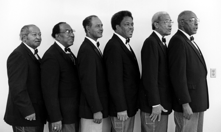 The Fairfield Four (left to right): Samuel McCrary, James Hill, Wilson Waters, Robert Hamlett, Reverend Willie Richardson, Isaac Freeman, February 8, 1989, photograph by Robert Cogswell, courtesy Tennessee Arts Commission