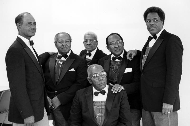 The Fairfield Four (left to right, rear): Wilson Waters, Samuel McCrary, Reverend Willie Richardson, James Hill, Robert Hamlett, (front) Isaac Freeman, February 8, 1989, photograph by Robert Cogswell, courtesy Tennessee Arts Commission