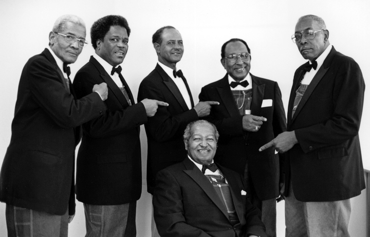 The Fairfield Four (left to right): Reverend Willie Richardson, Robert Hamlett, Wilson Waters, James Hill, Isaac Freeman, February 8, 1989, photograph by Robert Cogswell, courtesy Tennessee Arts Commission