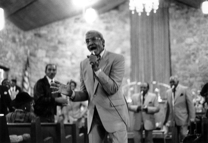 Reverend Willie Richardson taking the lead for the Fairfield Four at the 45th Anniversary Program for the Fireside Singers, Nashville, photograph by Robert Cogswell, courtesy Tennessee Arts Commission
