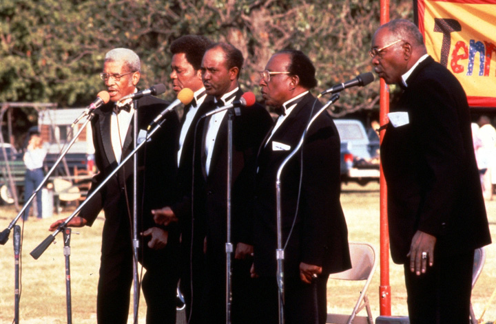 Fairfield Four (left to right): Reverend Willie Richardson, Robert Hamlett, Wilson Waters, James Hill, Isaac Freeman, Tennessee Grassroots Days, Nashville, September 30, 1985, photograph by Robert Cogswell, courtesy Tennessee Arts Commission