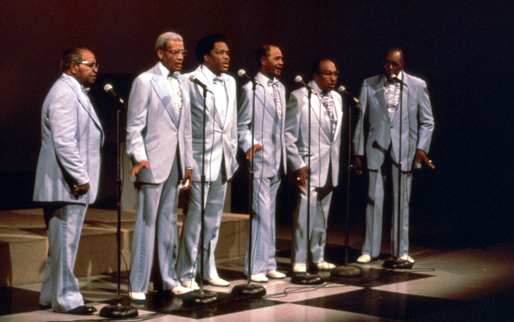 Fairfield Four (left to right) Samuel McCrary, Reverend Willie Richardson, Robert Hamlett, Wilson Waters, James Hill, Isaac Freeman, WSMV-TV Studio, Nashville, June 5, 1988, Photograph by Robert Cogswell, Courtesy Tennessee Arts Commission