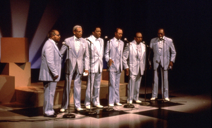 Fairfield Four (left to right): Samuel McCrary, Reverend Willie Richardson, Robert Hamlett, Wilson Waters, James Hill, Isaac Freeman, WSMV-TV Studio, Nashville, June 5, 1988, photograph by Robert Cogswell, courtesy Tennessee Arts Commission