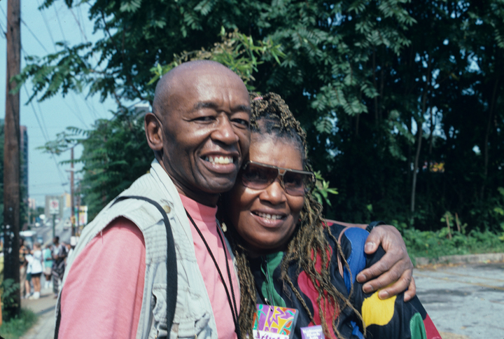 Roland L. Freeman and friend, National Black Arts Festival, Atlanta, Georgia, 1996, photograph by Alan Govenar