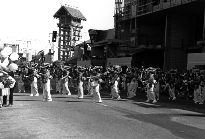 Madam Fujima's students dance in the annual Nisei Week Japanese Festival, Los Angeles, 1986, courtesy Fujima Kansuma Kai of Los Angeles