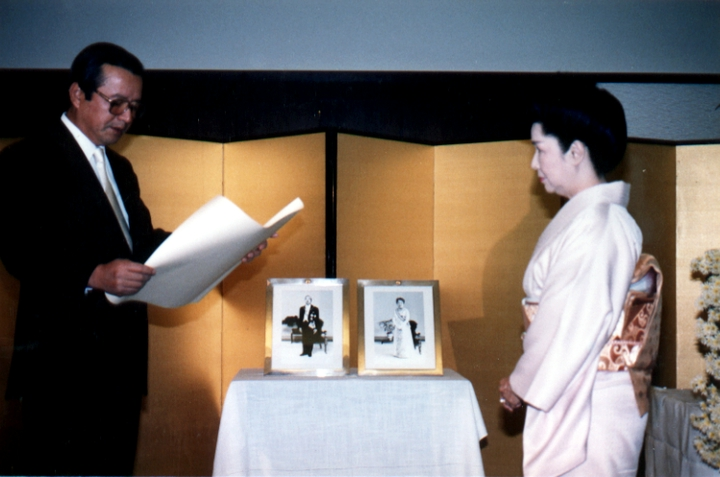 In 1985, Madam Fujima was awarded the Fifth Class Order of the Precious Crown from the Government of Japan in recognition of her contributions toward encouraging the appreciation of Japanese culture in the United States. Courtesy Fujima Kansuma Kai of Los Angeles