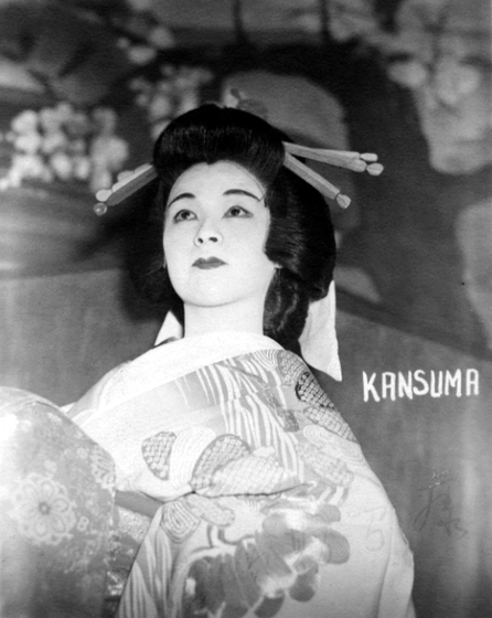 Madam Fujima spent the World War II years in a 'relocation camp' for Japanese at Rohwer, Arkansas. The Army allowed her to bring her music records and costumes (such as the one shown here), but she recalls that the hair decorations were carved by hand in camp from pieces of wood. Courtesy Fujima Kansuma Kai of Los Angeles