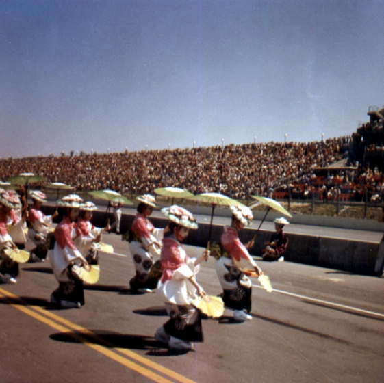 The Fujima Kansuma Kai, her troupe, was invited to appear in many events. Here, they perform at Ontario Speedway. Courtesy Fujima Kansuma Kai of Los Angeles