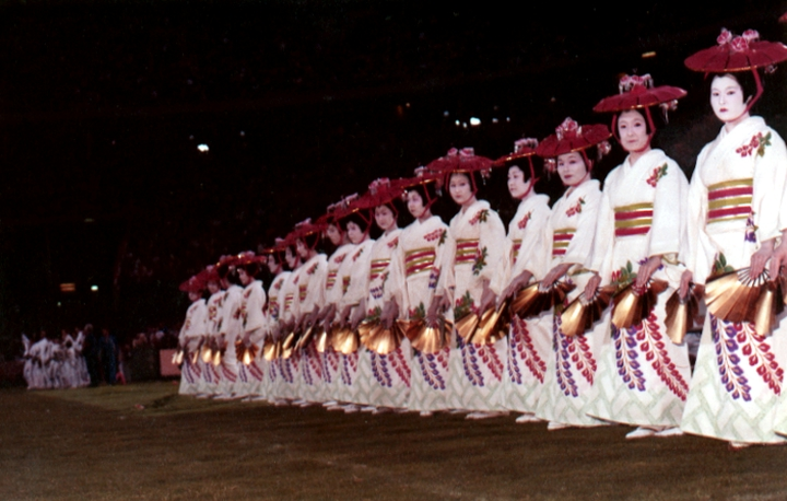 The Fujima Kansuma Kai troupe performing at the international dance show that heralded the opening of the 1984 Olympics in Los Angeles. Courtesy Fujima Kansuma Kai of Los Angeles