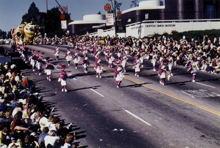 In 1980, a Japanese American, Leslie Kawai, was chosen Queen of the Pasadena Tournament of Roses.  Sunkist sponsored a float in the famous New Year's parade, with the Kansuma Kai dancers providing colorful escort to the float. Courtesy Fujima Kansuma Kai of Los Angeles
