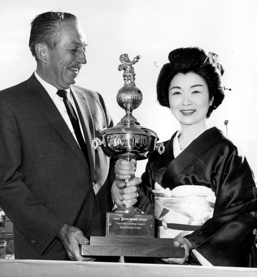 The late Walt Disney was a great fan of Madam Fujima. In 1963, he presented a trophy to her. Courtesy Fujima Kansuma Kai of Los Angeles