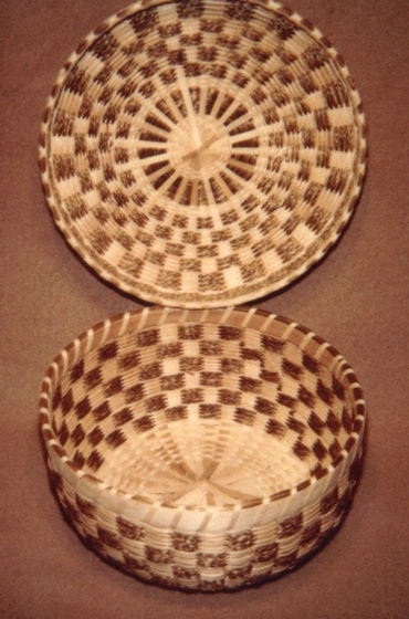 Sweetgrass and brown ash basket by Mary Mitchell Gabriel, courtesy National Endowment for the Arts