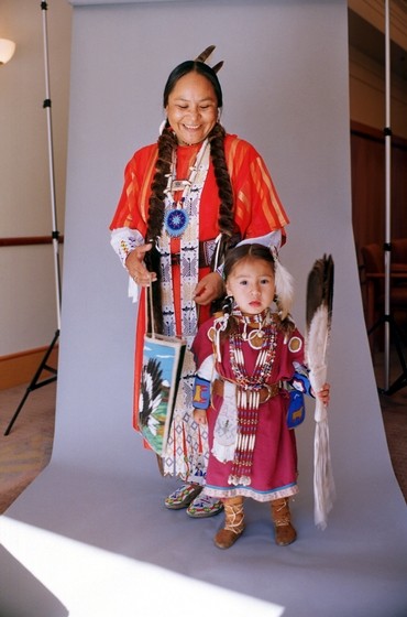 Sophia George with her daughter, Ida, photograph by Evan Schneider, courtesy Oregon Folklife Program