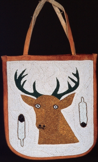 Beaded bag with deer by Sophia George, courtesy Oregon  Folklife Program