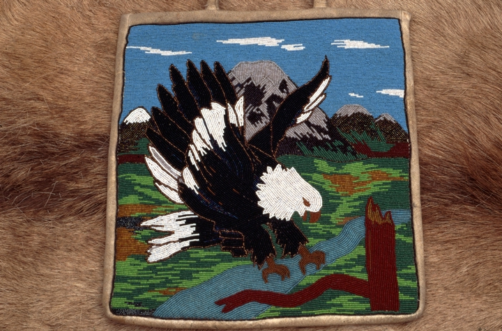 Beaded bag with bald eagle by Sophia George, courtesy Oregon Folklife Program
