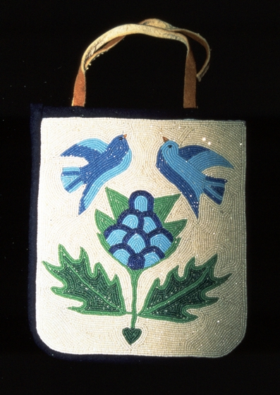Beaded bag with blue birds and plant, courtesy Oregon Folklife Program