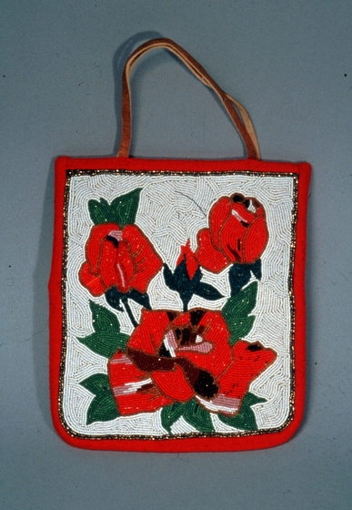 Beaded bag with flower design by Sophia George, courtesy Oregon Folklife Program