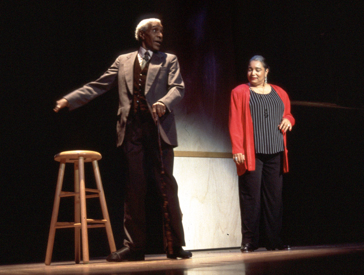 James 'Jimmy Slyde' Godbolt (left) performs on stage at the 1999 National Heritage Fellowship Concert, courtesy National Endowment for the Arts