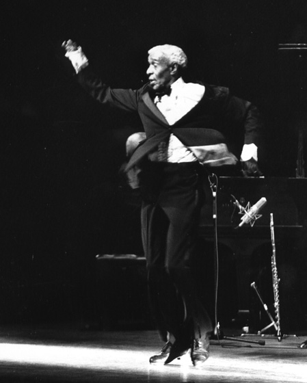 James 'Jimmy Slyde' Godbolt performs in 'The Majority of Tap,' 1992, photograph by Jack Vartoogian