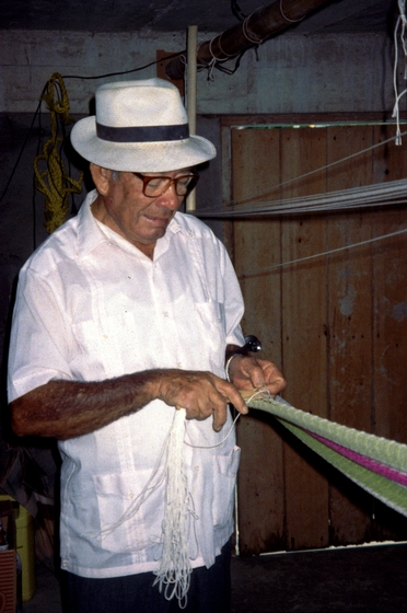 José González working on one of his hammocks, San Sebastian, Puerto Rico, courtesy National Endowment for the Arts