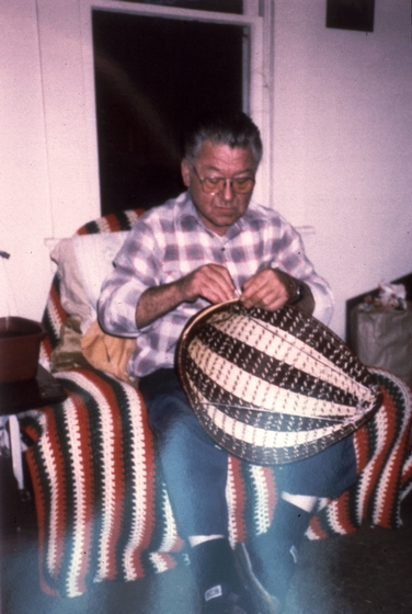 Ulysses 'Uly' Goode working on a Western Mono winnowing basket, photograph by Ron Goode, courtesy National Endowment for the Arts