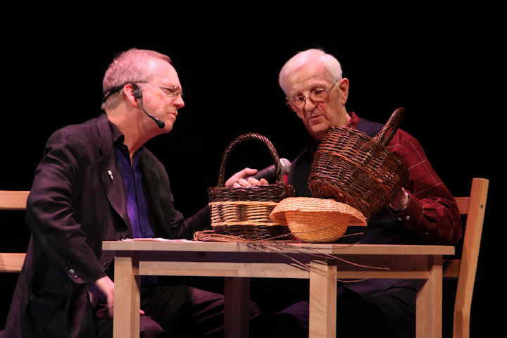 Leroy Graber interviewed by Nick Spitzer, 2009 National Heritage Fellowship Concert, Bethesda, Maryland, photograph by Michael G. Stewart