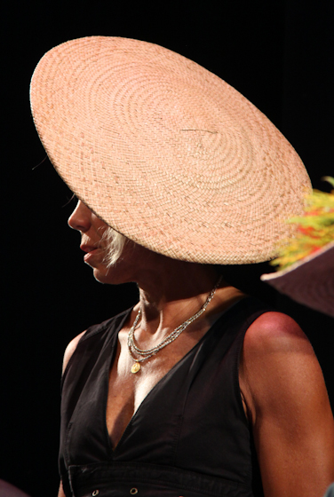 Hat by Gladys Kukana Grace, 2010 National Heritage Fellowship Concert, Bethesda, Maryland, photograph by Michael G. Stewart