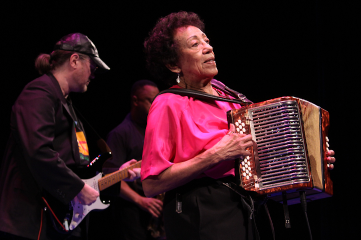 Ida Guillory and her band, 2009 National Heritage Fellowship Concert, Bethesda, Maryland, photograph by Michael G. Stewart