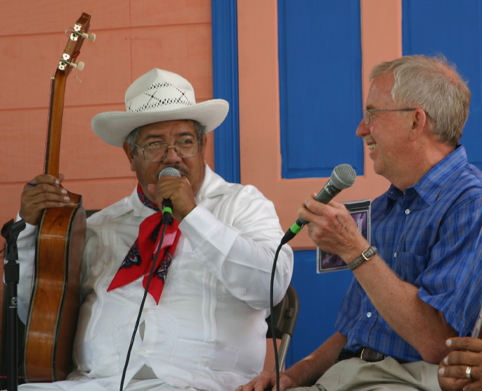 José Gutiérrez, Dan Sheehy, Nuestra Musica Program, photograph by Barry Bergey