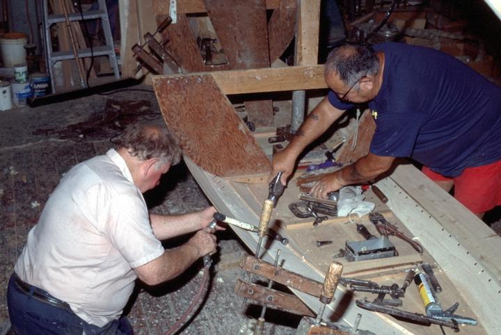 Charles E. Hankins (left) at work on a Sea Bright skiff in his shop, Lavallette, New Jersey, courtesy National Endowment for the Arts